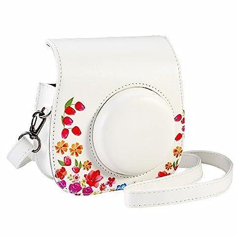 Tashce / Kameratasche für Fujifilm Instax Mini 9/8 / 8+ Instant Film Kamera Pink. Vintage Compact Schutztasche. Mit verstellbarem Schultergurt & Taschen. Von SAIKA