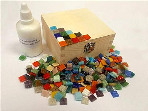 Mosaic Box Tile Kit. Ready to Make. Mixed Colours. Every thing you need to make this Mosaic Box, vitreous tiles solid wooden box + Adhesive & Instructions.