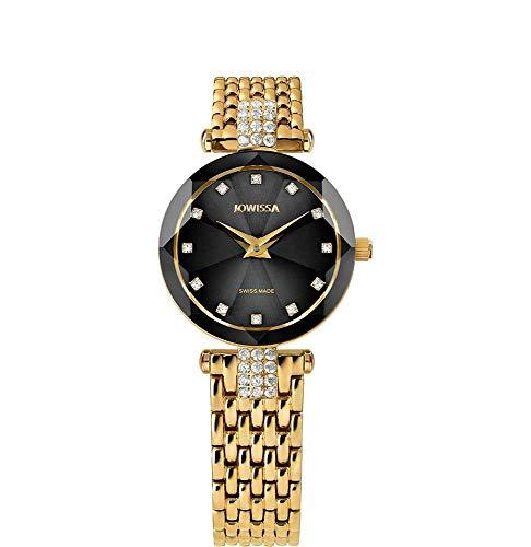 Jowissa Facet Strass Swiss J5.630.S - Reloj de Pulsera para Mujer, Color Negro y Dorado