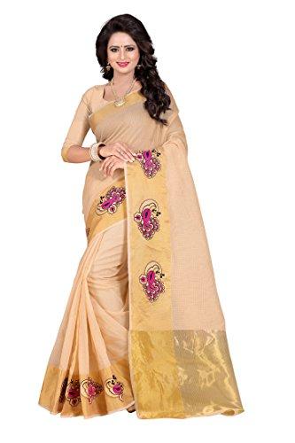Febo FashionWomen's Cotton Silk Cream Colour Saree