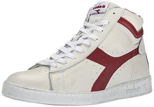 Diadora Game L High Waxed Scarpe Low-Top, Unisex adulto, Multicolore (C5147 Bianco/Rosso Peperone), 44
