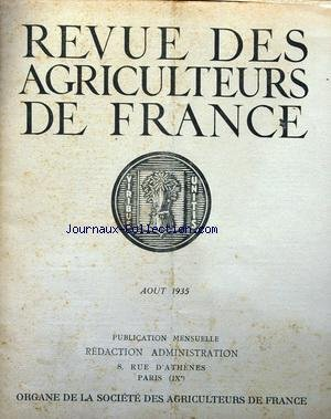 REVUE DES AGRICULTEURS DE FRANCE [No 8] du 01/08/1935