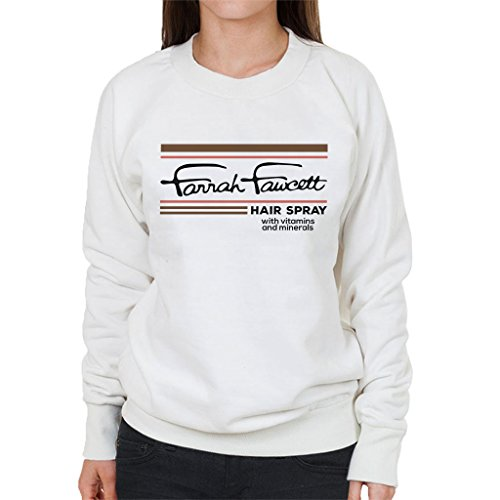 Stranger Things Farrah Fawcett Hair Spray Women's Sweatshirt white