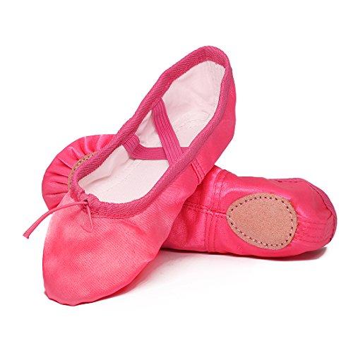 Ballettschuhe Mädchen Tanzschuhe ballettschläppchen Damen bequem Spitzenschuhe Kinder Pink 27