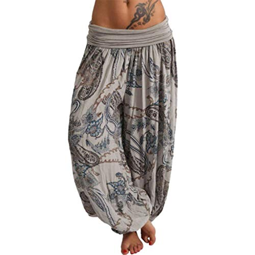 ers Haremshose Stoffhose Damen Casual Boho Ethnic Peacock Feathers Print Bedrucktes Druck Bloomers Falten Gefaltet Plissee Hippie Long Low Waist Yoga Trousers (L,Hellgrau) ()