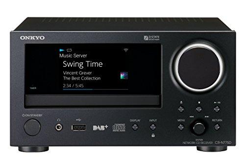 Onkyo Netzwerk CD-Receiver, CR-N775D-B, Wiedergabe von Audio CD/CD-R/CD-RW/MP3 CD, Multiroom, WLAN, Bluetooth, Streaming, Musik Apps (Spotify, Tidal, Deezer), DAB+, Aluminium Front, Schwarz, 1500548