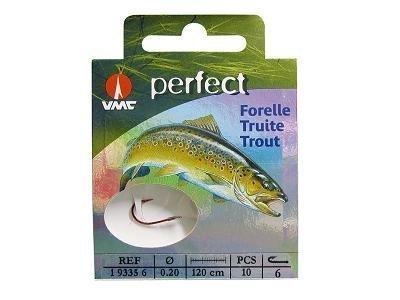 VMC Perfect Forelle rot gebundene Forellenhaken 120cm Vorfach, Hakengröße:8 by VMC