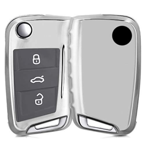 kwmobile Autoschlüssel Hülle für VW Golf 7 MK7 - TPU Schutzhülle Schlüsselhülle Cover für VW Golf 7 MK7 3-Tasten Autoschlüssel Hochglanz Silber -