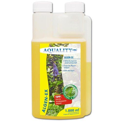 AQUALITY Algen-EX 1.000 ml (Erstklassiger Algenvernichter und Algenmittel für Ihr Aquarium - Befreit Sie von Fadenalgen, Bartalgen, Kieselalgen oder Blau- und Schmieralgen)