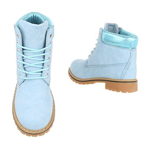 Ital-Design Schnürstiefeletten Damenschuhe Schnürstiefeletten Blockabsatz Schnürer Schnürsenkel Stiefeletten Hellblau