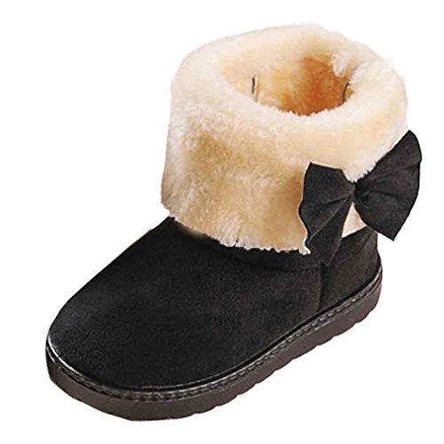 Ouneed® Enfant Fille Noeud Hiver Cotton Bottines (22, Noir) Noir