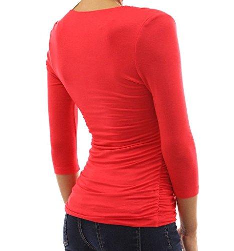 Minetom Damen Langarmshirt Regular Fit Bluse Top Oberteil V-Ausschnitt 3/4 Ärmel Slim T-shirt Pullover Rot