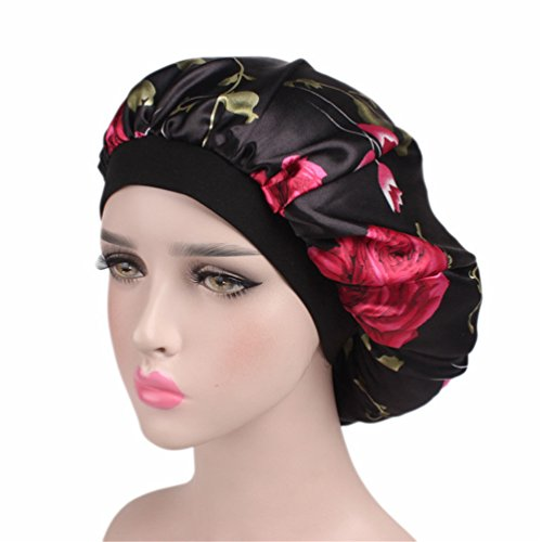 2ae9e530869 Bonnet Sleeping Cap Chemo Hat - Floral Women Wide Band Salon Satin Sleep Slouch  Slouchy For