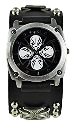Nemesis Men's 932MICK Skull Iron Cross Series Analog Display Japanese Quartz Black Watch