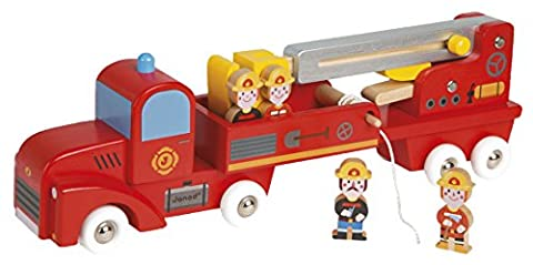 Janod Holzspielzeug - Feuerwehrauto Wagen Drehleiter Story inkl. 4 Spielfiguren, Mehrfarbig