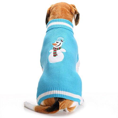 fishbabe Cute Funny bestickt Cartoon Blau Schneemann Muster, Hunde Haustiere Strickpullover für Herbst Winter Weihnachten Neue Jahr Katzen Welpen Santa Stil Pullover Strickwaren für kleine medium large Breed Gr. 2X S-2X L (Strickpullover Bestickte)