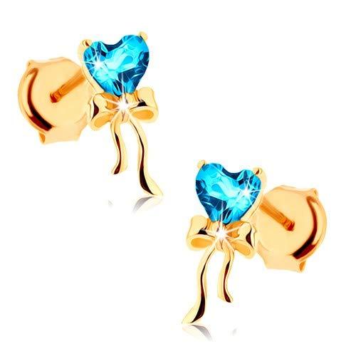 ldohrringe 585, Ohrstecker in gelbe Gold 14K, goldene Ohrringe 14K, Damen Ohrringe, glänzende Schleife, blaues Topasherz, 3 x 8 mm, 0,4 g ()