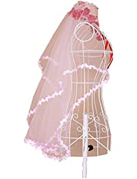 Voile De Mariée/Mariage/ Cérémonie/Spectacle Femme Jeune Fille 1 Couche 1.4M Avec Bordure Dentelle Florale 3 Coloris Elégant