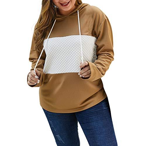GOKOMO Frauen Mosaik Kapuzenpullover PulloverFrauen Plus Größen-Patchwork-mit Kapuze Lange Hülsen beiläufige Pullover-Strickjacke-Oberseite(Khaki,X-Large)