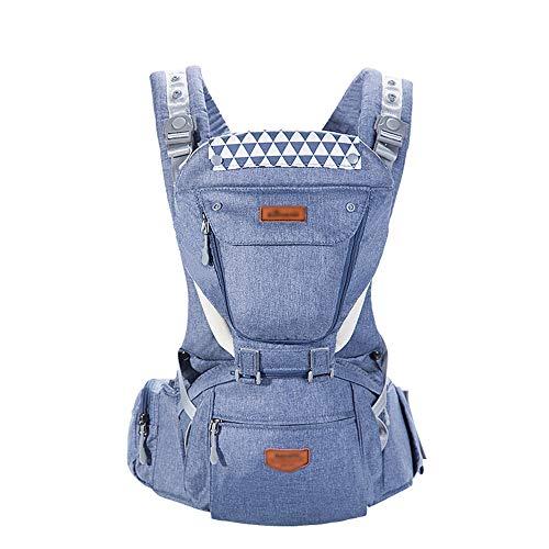 MLX Ergonomische Polyester-Babytrage-Denim Blue, Multi-Funktions-5-in-1-Babytrage-Speicherfunktion - Four Seasons Universal (≤20kg, 0-36 Monate) -