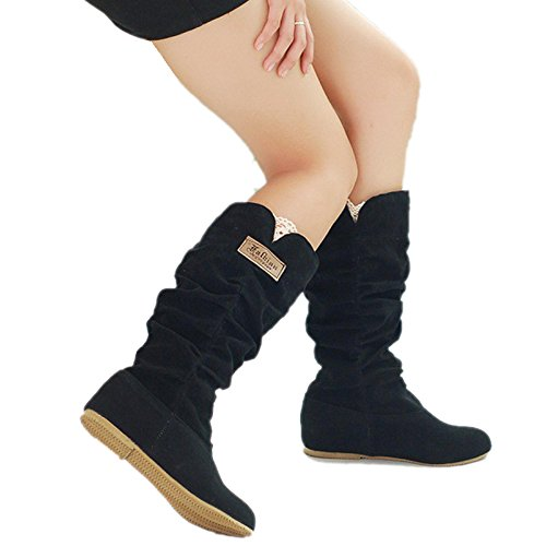 FINEJO Womens Round Toe Mid Calf Knee High Flat Boot Shoes Black...