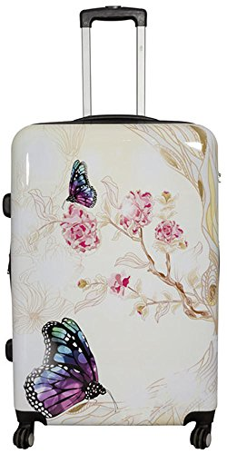 Vanity, valise à roulettes,bagage à main rigide en polycarbonate ABS - Taille XL, L, M, S, Asia Butterfly. (Multicolore) - unknown