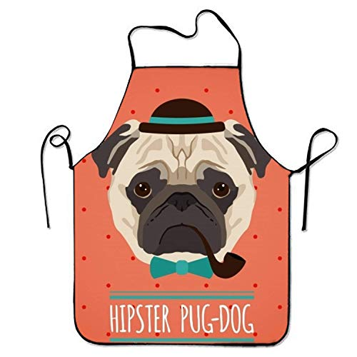 SHALLY Hipster Pug Dog with Hat Adjustable Kitchen Cooking Apron for Adult