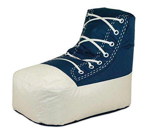 Shoe 1 Kinder Sitzsack Sitzkissen Blau / Weiß in Schuhform