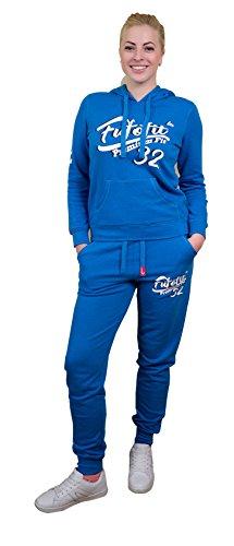 Giacche da donna James e Paul in tuta da donna in tuta da donna con cappuccio da donna e pantaloni sportivi in cotone top S M L XL XXL Felpa in sweatshirt due pezzi blu acceso