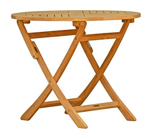 Kai Wiechmann®, massiver Gartenklapptisch aus der Serie Ravenna hochwertig gefertigt aus Teakholz Ø 70 cm/Klapptisch/Gartenmöbel/Gartentisch/Esstisch/Teak-Tisch/Rund-Tisch/klappbar/zusammenklappbar