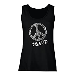 lepni.me Damen Tank-Top Peace Symbol 60er Jahre 70er Jahre Hippie-Festival,