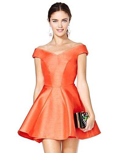 PU&PU Robe Aux femmes Patineuse Vintage , Couleur Pleine Epaules Dénudées Mini Polyester orange-l