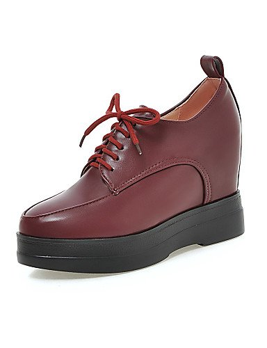 ZQ hug Scarpe Donna - Scarpe col tacco - Casual - Zeppe / Plateau - Zeppa - Finta pelle - Nero / Rosso / Beige , red-us8 / eu39 / uk6 / cn39 , red-us8 / eu39 / uk6 / cn39 black-us6 / eu36 / uk4 / cn36