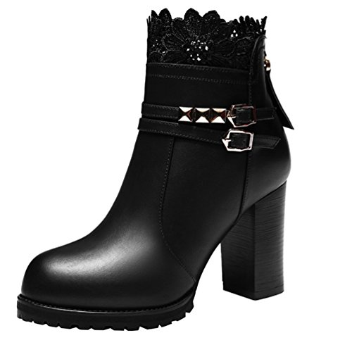 fq-real-womens-beautiful-lace-chunky-buckle-back-zipper-ankle-booties-4-ukblack