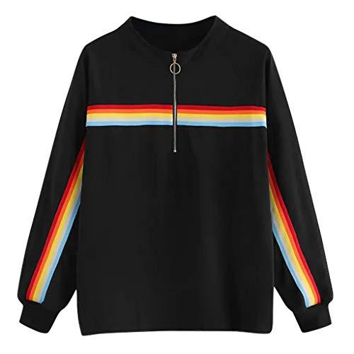 Lazzboy Damenbekleidung Frauen Lange Hülsen Regenbogen Streifen Bluse Sport Sweatershirt Oberseiten Klassisch Patchwork Rundhals Sweatshirt Weich Mantel(Schwarz,2XL) -