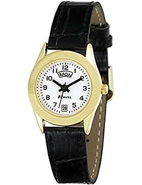 Ravel Daman Armbanduhr klassisch Gold 3Zeiger Tages-/Datumsanzeige auf Schwarzem PU-Leder-Kroko-Armband r0706.16.2