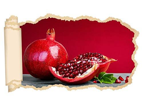3D Wandtattoo Granatapfel Obst Kerne Küche Früchte Tapete Wand Aufkleber Wanddurchbruch Deko Wandbild Wandsticker 11N1944, Wandbild Größe F:ca. 97cmx57cm (Früchte-wand-aufkleber)