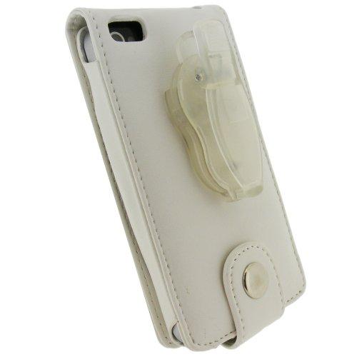 igadgitz Etui Pochette Case relevable en Cuir PU, Housse de couleur Rouge, pour Apple iPhone 4 & 4S 16/32/64GB + fixation ceinture amovible + protecteur d'écran blanco - White - PU Leather
