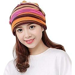 DDG EDMMS - Gorro de rayas para mujer, diseño de gorro de lana con cabeza de turbante