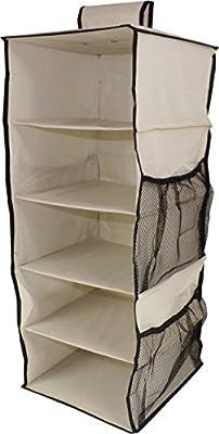 Neusu Heavy Duty Hanging Shelves Wardrobe Organiser - 5 Shelves Plus 4 Side Pockets - Beige 600D Fabric - 30cm x 30cm x 76cm (65+ Litre Capacity)