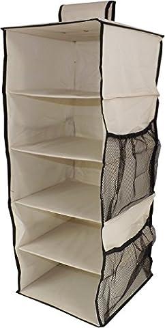 Neusu Heavy Duty Wardrobe Organiser - Hanging Shelves With Side Pockets (5 shelves, Beige)