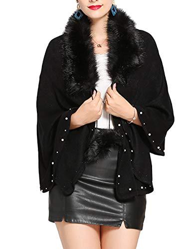 Perlen Poncho (SOMTHRON Damen Winter Kaschmir Kunstpelz Poncho mit Perlen 165×57 cm(BL))