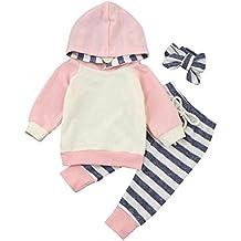 0- 24 Meses Bebe Niñas Sudaderas con capucha + Pantalones + Cintas para el pelo Otoño Invierno Ropa ,Recién Nacido Niña Ropa Conjunto