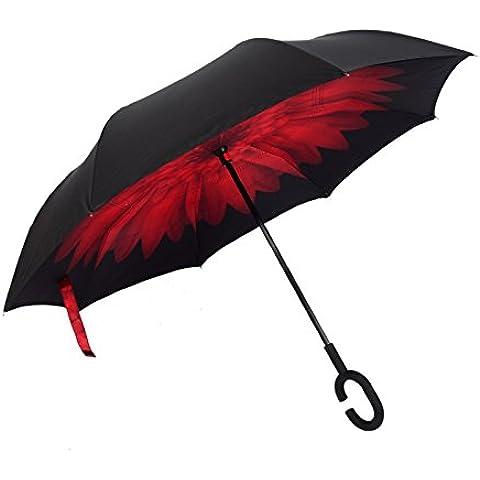 COLLECTOR Auto reversa, tipo c-paraguas publicidad inversa doble gratis al aire libre sol paraguas sombrillas , Carmine