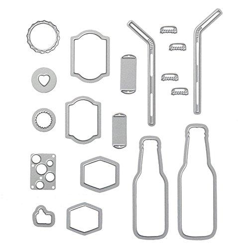 Zmigrapddn DIY Formen, 19pcs/Set Metall Bubble Drink Flasche Stroh Schneiden Sterben für Scrapbooking DIY Craft a -