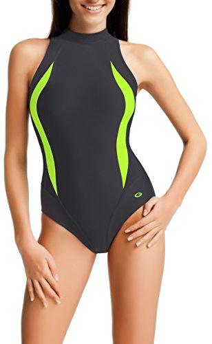 Gwinner Damen Sportbadeanzug - Geeignet Für Freizeit Und Sport - Ideale Passform - Beständig Gegen UV Und Chlor -Made In EU #Olivia, Graph/Grün, 48