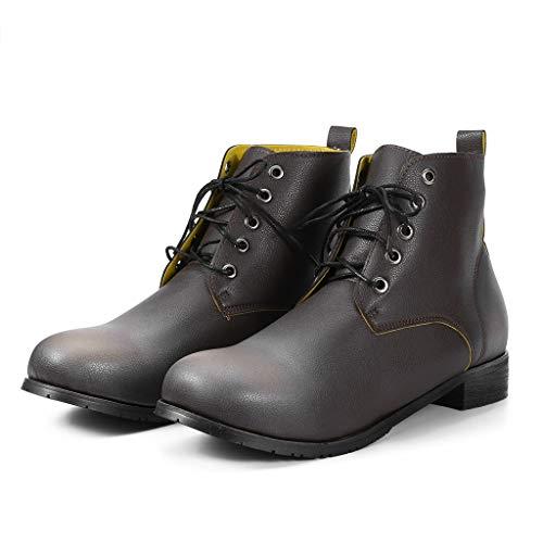 SEHRGUTGE Classic Schnürstiefel aus Leder für Herren/Damen - Round Toe Ankle Biker Boots - Kurze Stiefeletten für die tägliche Geharbeit
