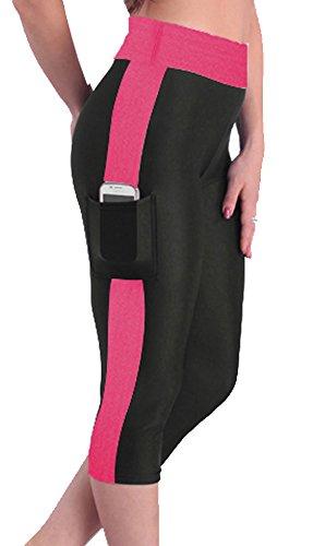 U-shot Femme Casual Stretch Fitness Yoga Capris Leggings Pantalon Noir + Fuchsia
