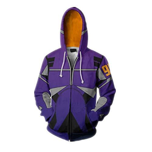 CSXGUO Kapuzenpullover,Battle Angel Cardigan Sweater Cosplay Kostüm Hoodie Für Besondere Anlässe,5XL,Lila (Angel X-men Kostüm)