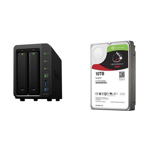 Preisvergleich Produktbild Synology DS716+II  2-Bay NAS-System, inklusive 2 x Seagate IronWolf 10 TB, ST10000VN004, interne Festplatte, 8,9 cm (3,5 Zoll), 256 MB Cache, 7200 RPM, SATA 6Gb/s (20 TB)